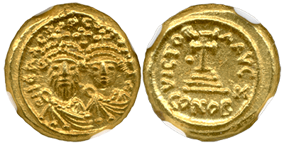 Gold Solidus of Heraclius and Heraclius Constantine