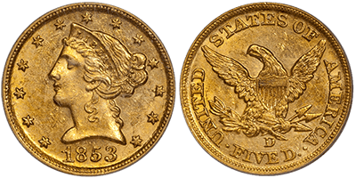 1853-D Large D $5.00 PCGS MS61 CAC